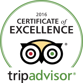 Certificate of Excellence from Trip Advisor
