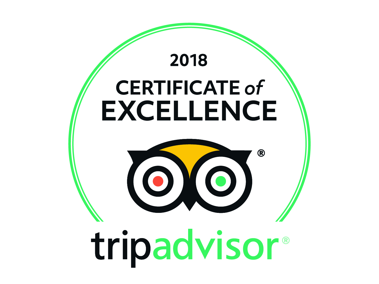 Certificate of Excellence from Trip Advisor 2018